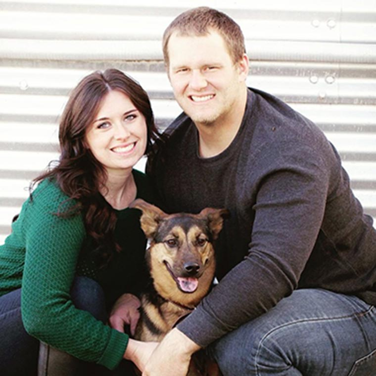 Amanda, her husband and dog