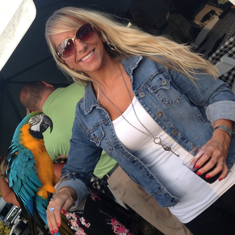 Heidi with a parrot