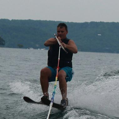Mike waterskiing