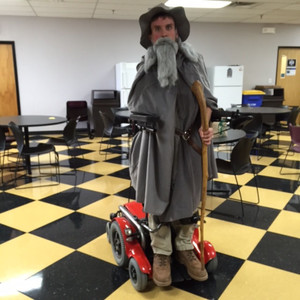 Jim dressed up as Gandalf