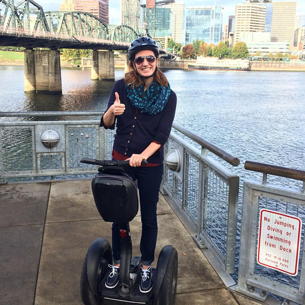 Katie on a segway